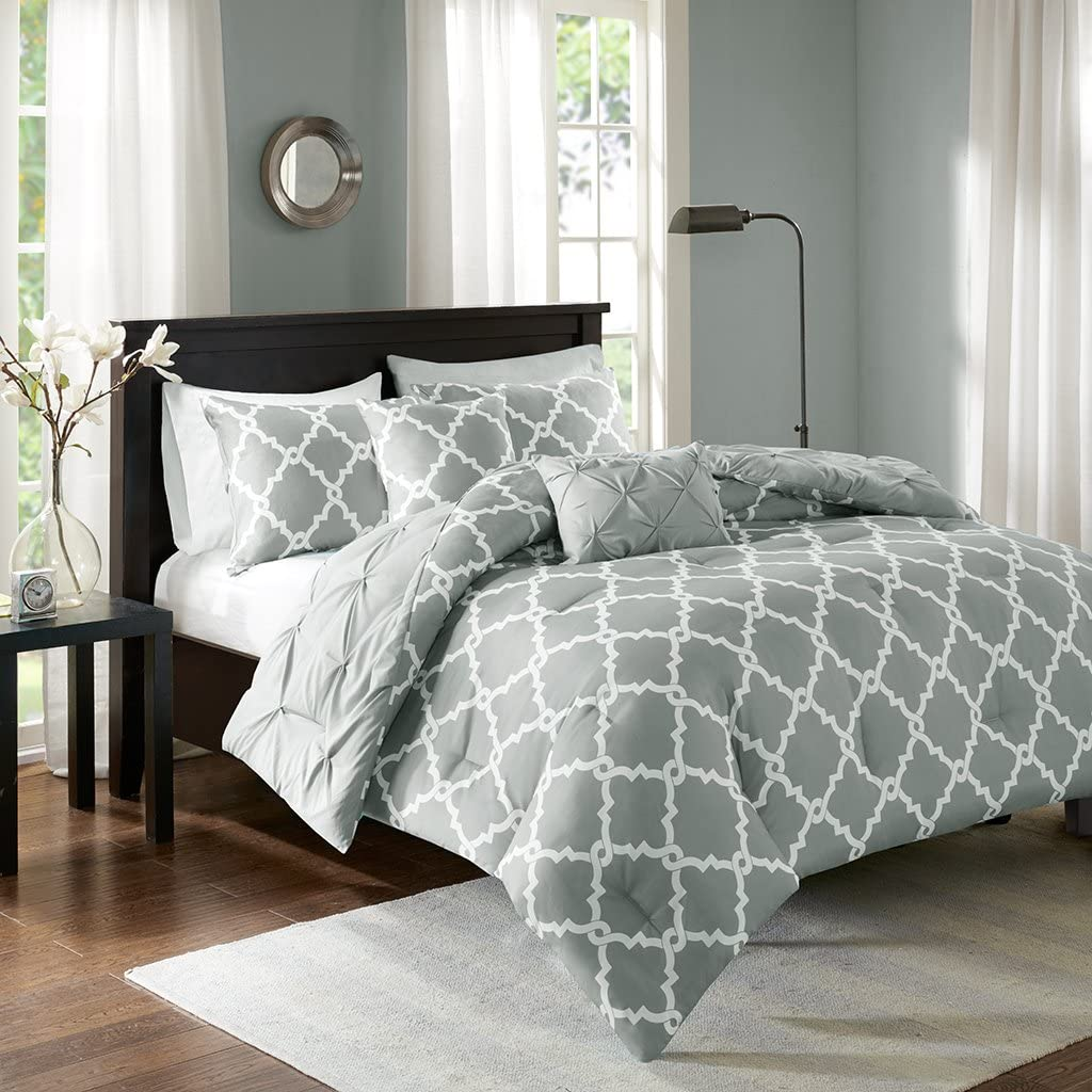 Madison Park Essentials Kasey King/Cal King Size Bed Comforter Set - Grey, Reversible Tufted, Ogee Fretwork – 5 Pieces Bedding Sets – Ultra Soft Microfiber Bedroom Comforters