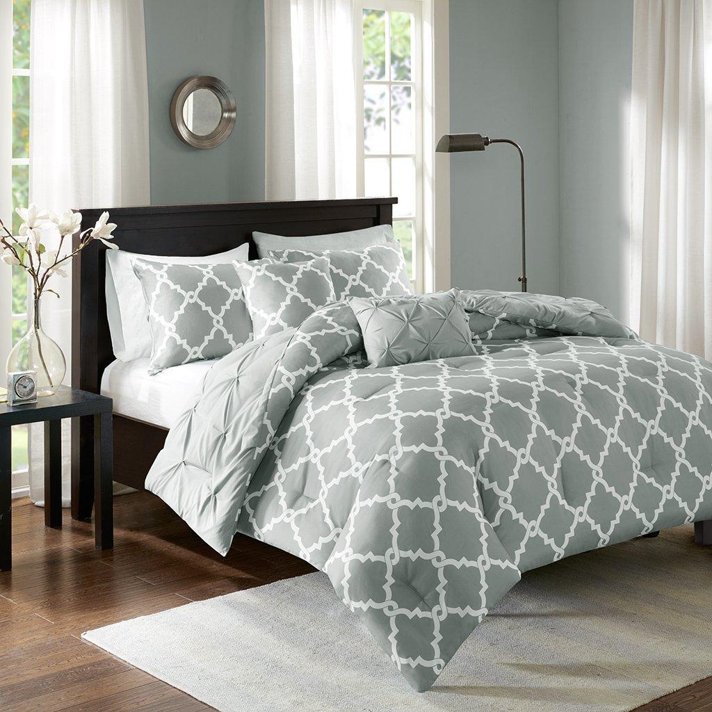 Madison Park Essentials Kasey Full/Queen Size Bed Comforter Set - Grey, Reversible Tufted, Ogee Fretwork – 5 Pieces Bedding Sets – Ultra Soft Microfiber Bedroom Comforters