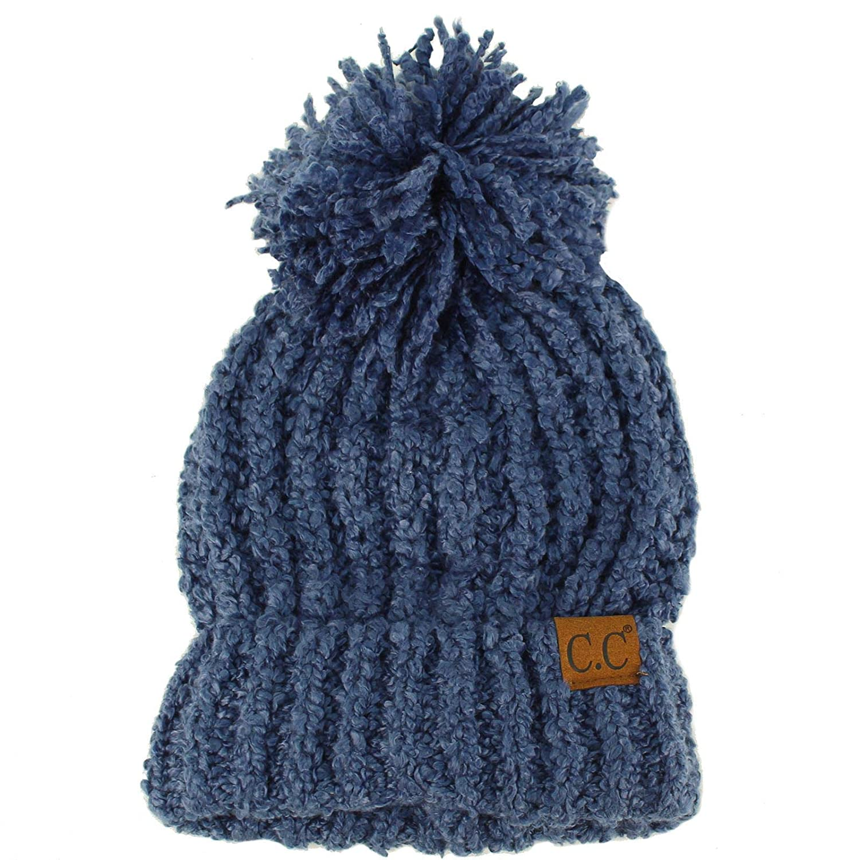 ebde24cd54b Winter CC Soft Chenille Pom Pom Warm Chunky Stretchy Knit Beanie Cap Hat  Dk. Denim at Amazon Women's Clothing store