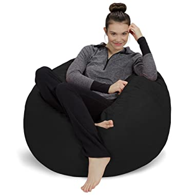 Sofa Sack - Plush, Ultra Soft Bean Bag Chair - Memory Foam Bean Bag Chair with Microsuede Cover - Stuffed Foam Filled Furniture and Accessories for Dorm Room - Black 3'