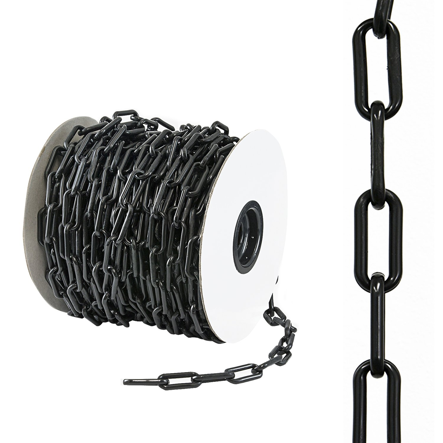 Houseables Plastic Chain, Safety Barrier, 125 Foot, 2'' Links, Light Weight, UV Protected, Accessory for Crowd Control, Queue Line, Halloween Costume, Decoration, Chains Link Fence (Black)
