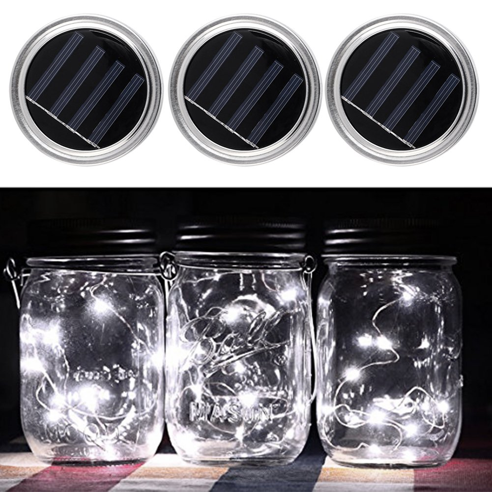 Mason Jar Solar Lids, OUTOS 3 Pcs Solar Mason Jar Lids With LED Light Beads for Glass Mason Jar,Garden,Courtyard, Wedding, Party, Kids Room,Bar,Cafe Light Decorations (Nature White)