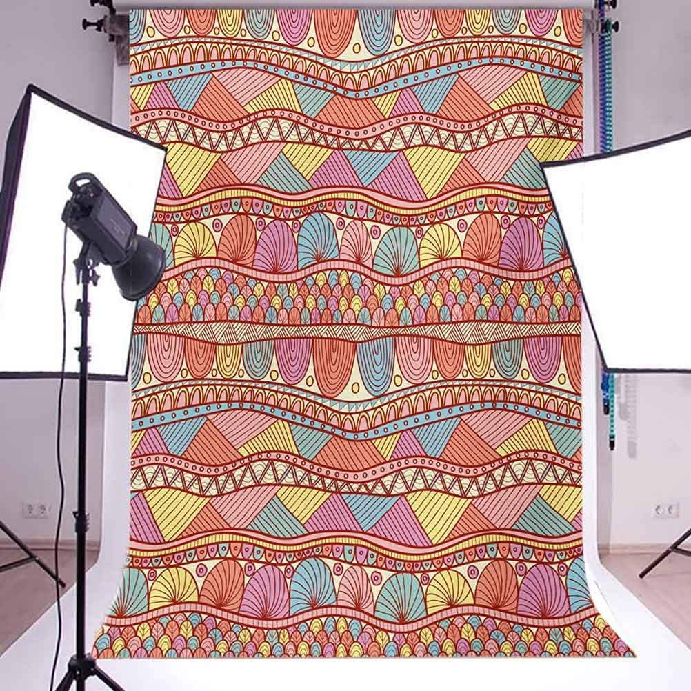10x12 FT Backdrop Photographers,Colorful Henna Style Pattern Swirls Striped Abstract Hand Drawn Artwork Background for Photography Kids Adult Photo Booth Video Shoot Vinyl Studio Props Multicolor