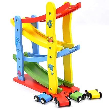 Amazon Com Gybber Mumu Wooden Ramp Racer Race Track For Toddler