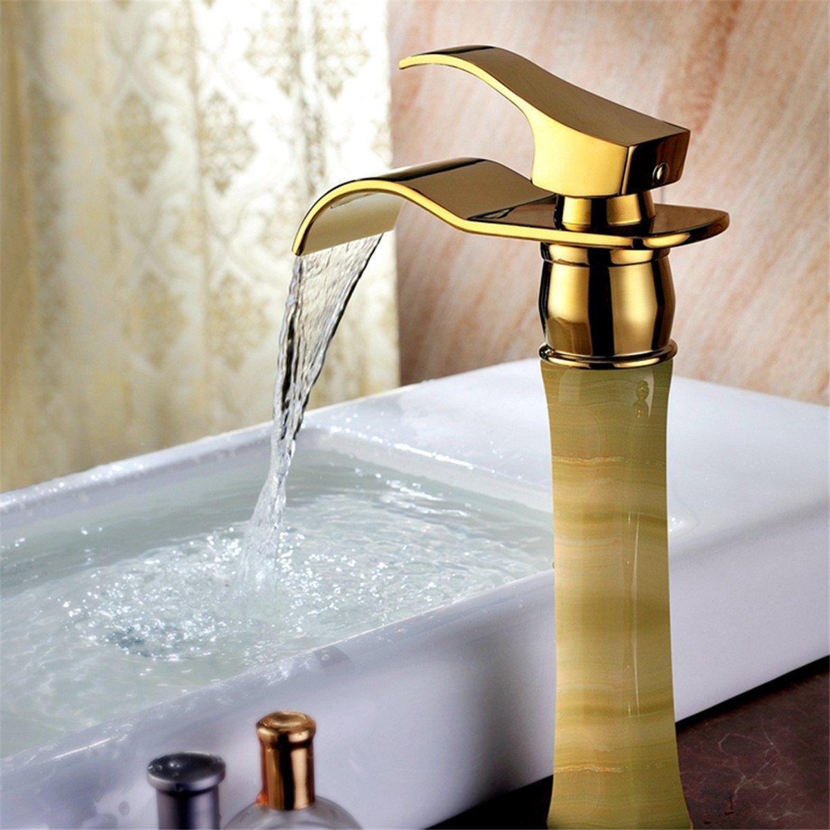 Continental Titan Gold einzelne Griff einzelne Bohrung Wasserfall am oberen Zähler Waschbecken warmes und kaltes Wasser, Badezimmer Waschbecken Armatur   Waschbecken Wasserhahn Mischbatterie Badarmatur   Waschtischarmatur   Badarmatur   Waschbecken Wasser