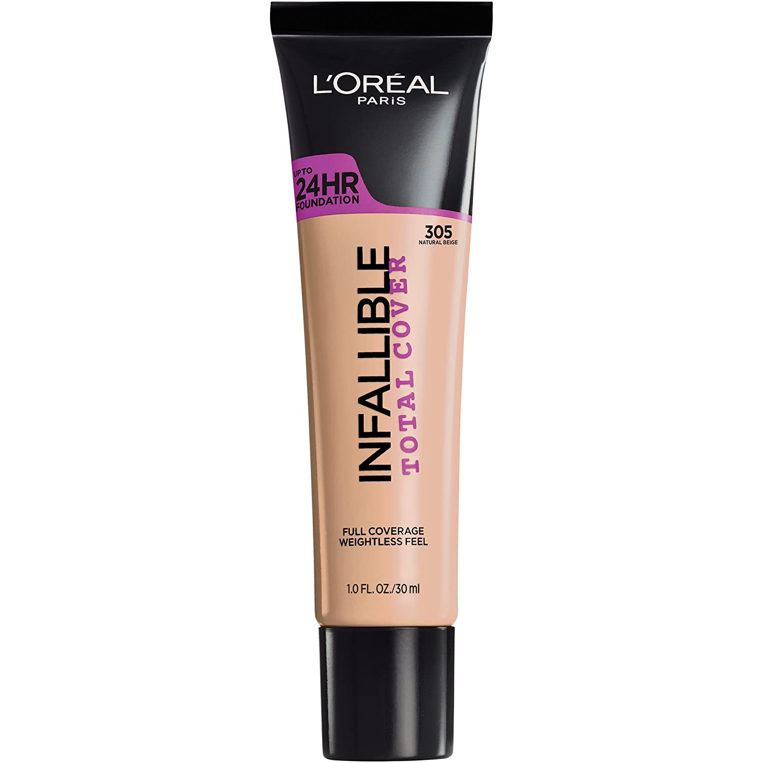 L'Oréal Paris Infallible Total Cover Foundation, Natural Beige, 1 fl. oz.