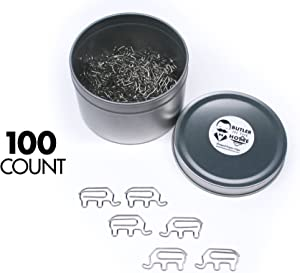 Butler in the Home Animal Elephant Shaped Paper Clips in Silver Tin and Silver Gift Box Great for Paper Clip Collectors or Zoo Animal Lovers (100 Count Silver)
