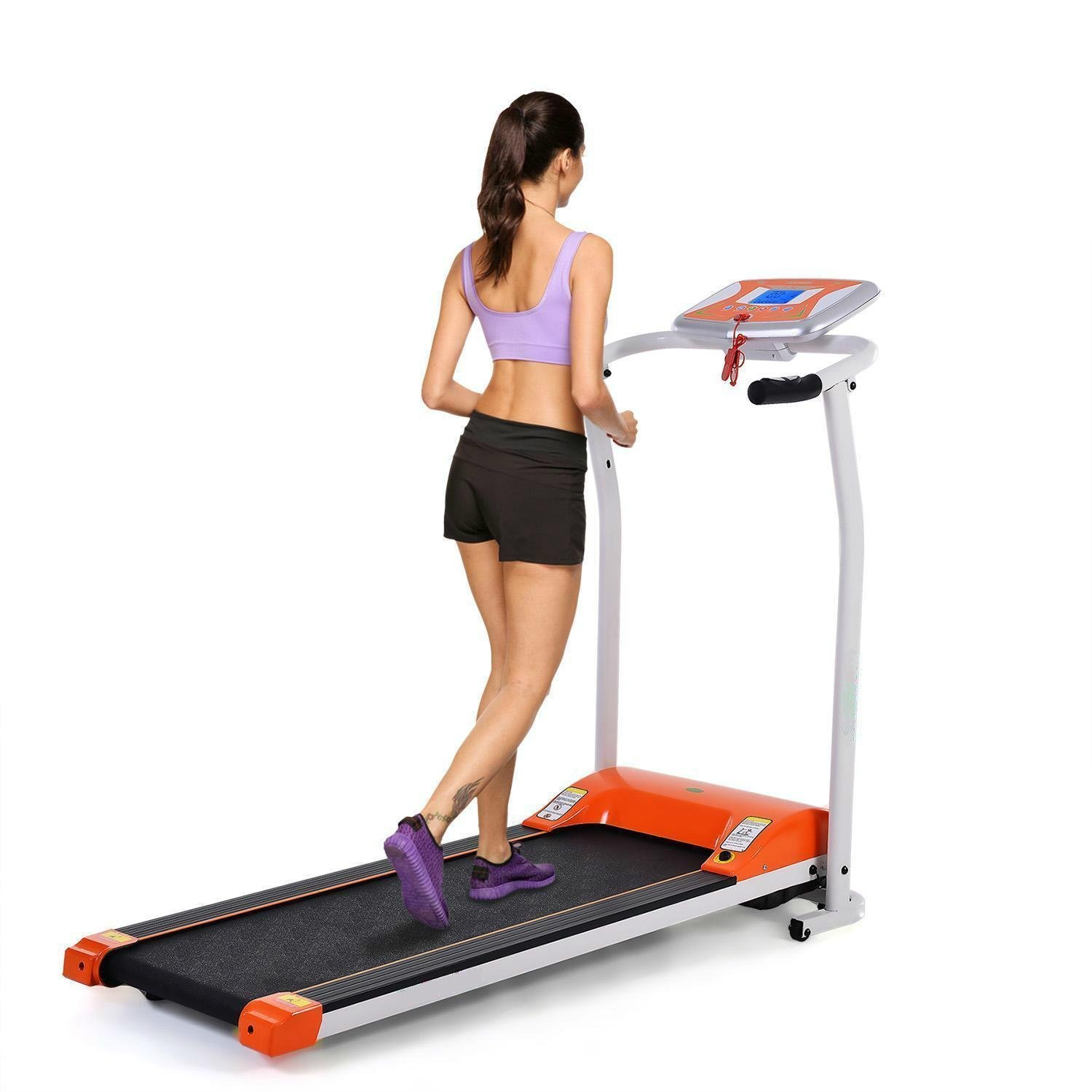 Ferty Economical Foldable Exercise Electrical Treadmill at Home Wide Mini Portable Incline Motorized [US Stock] (Orange)