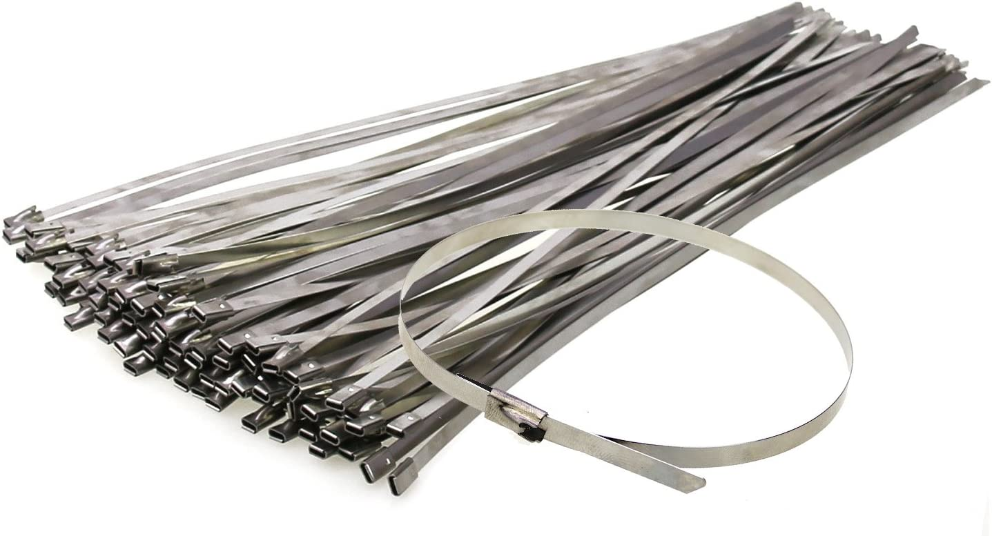 "27/"" Inch Stainless Steel Metal Cable Wire Zip Wrap Ties 100 lbs pound 25 pack"