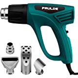Heat Gun Dual Temperature Settings, PRULDE N2190 1500W Hot Air Gun 800°F - 1112°F, Overload Protection with 4 Metal Nozzle At