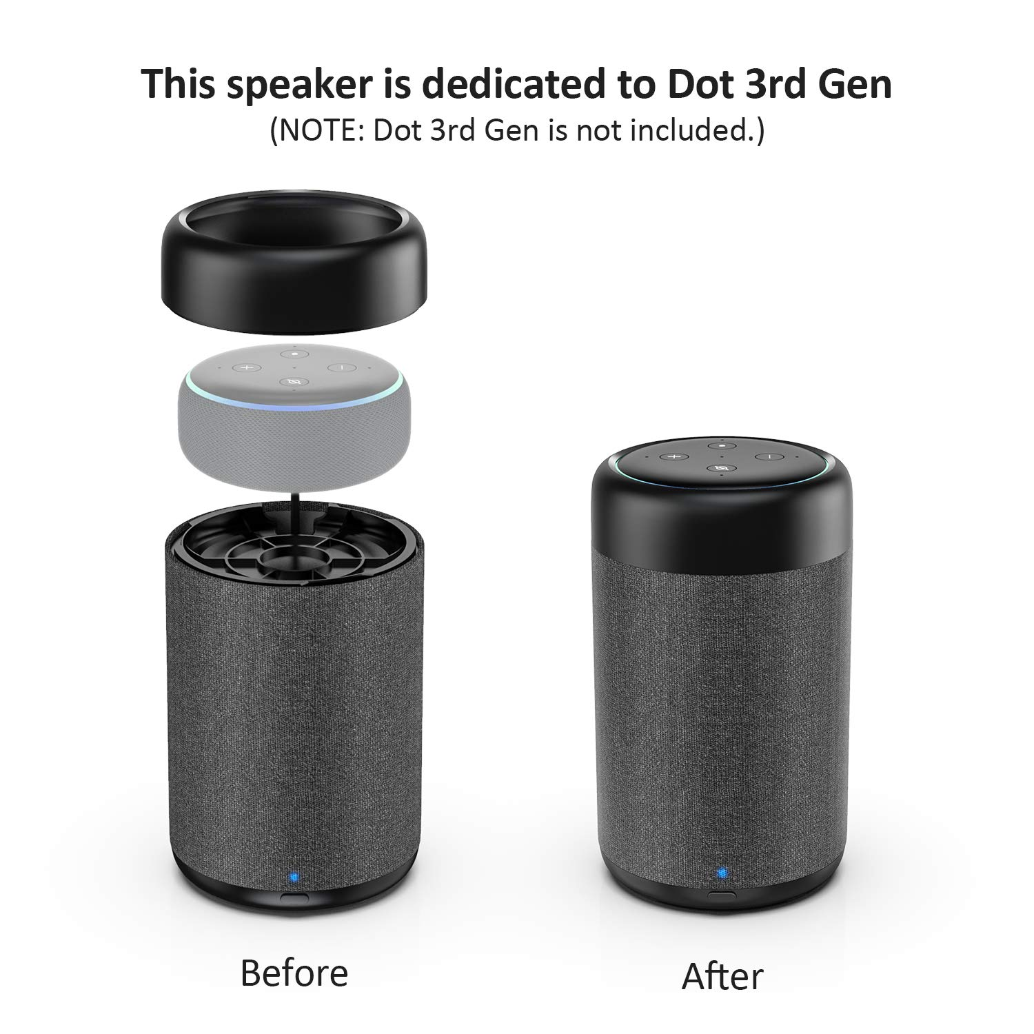 GGMM D7 Portable Speaker Dedicated for Dot 3rd Gen Battery Power Base Dot Not Included Black