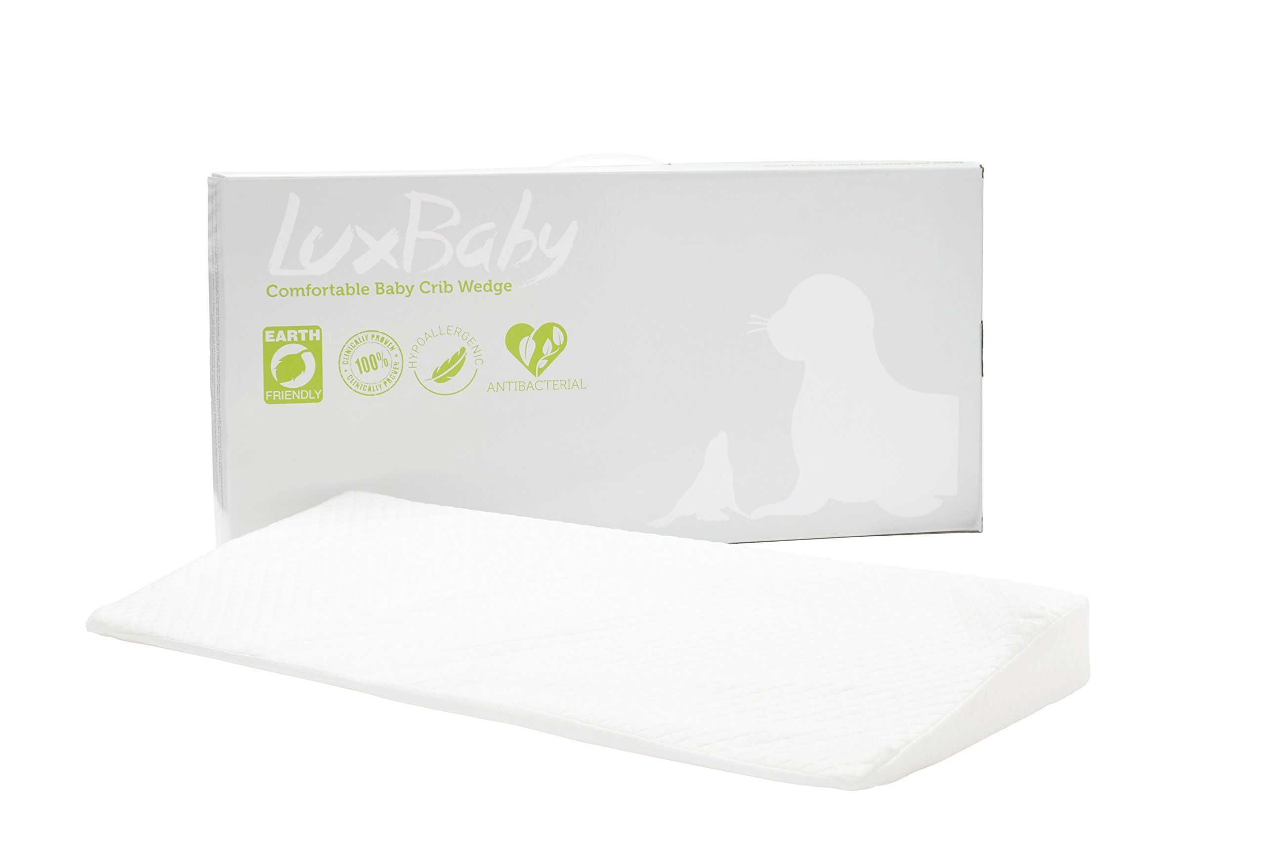 """LuxBaby Acid Reflux Crib Wedge l Antibacterial & Hypoallergenic l Soft Waterproof Cotton with Non-slip bottom l 27.25""""x13.25""""x2.75"""" size, for infant & toddlers"""