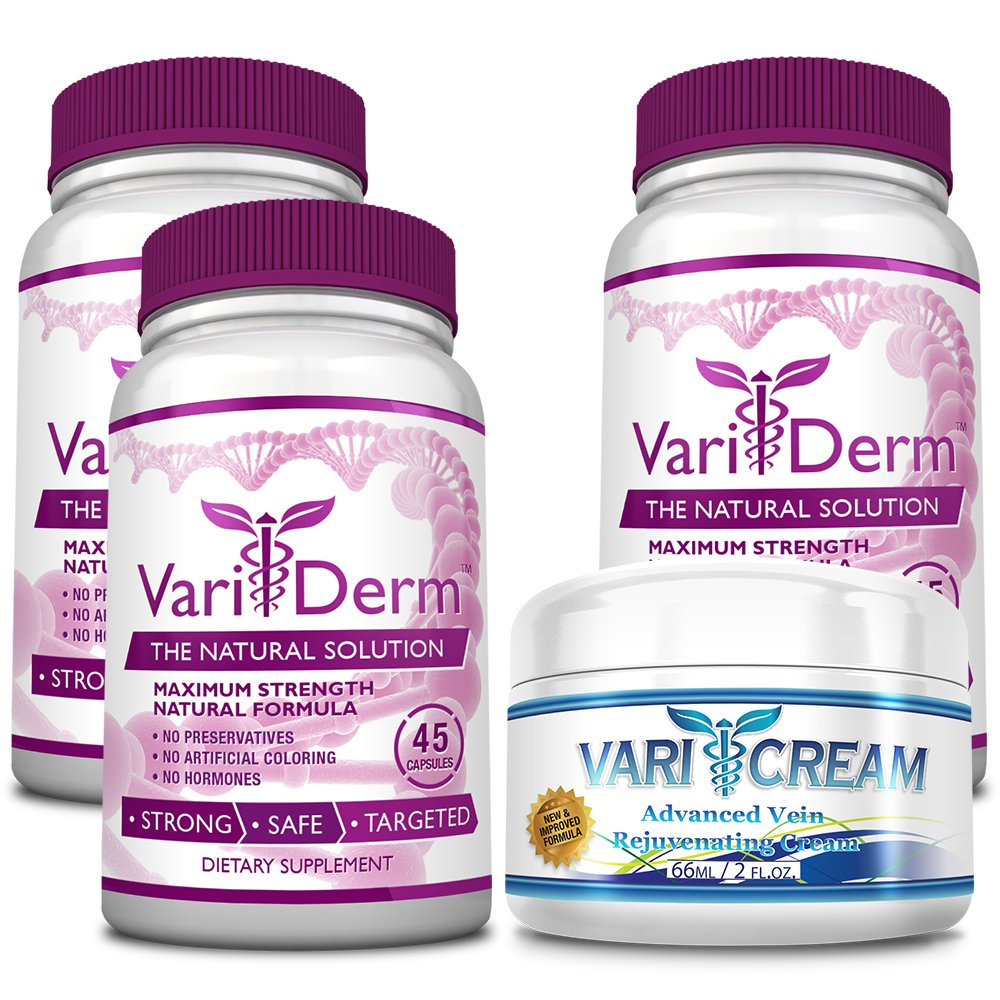 VariDerm: The Varicose and Spider Vein Solution (3 Bottles + 1 Cream) Improves Appearance of Varicose & Spider Veins - Relieves Varicose Vein Pain & Strain. Supports Healthy Vein Tissue Development