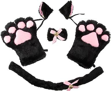 4Pcs//Set Cat Kitten Ears Headband Bow Tie Tails Maid Lolita Cosplay Fancy Dress