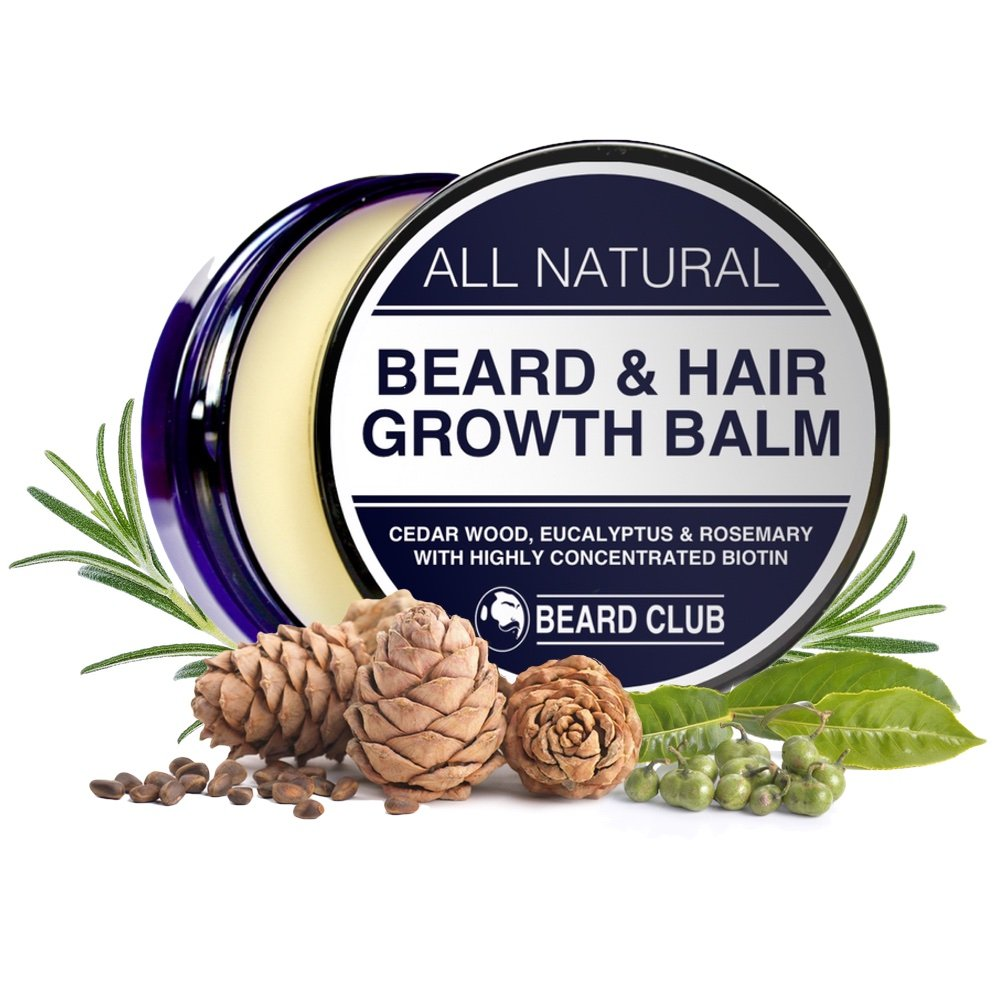 All Natural Beard Balm | For Beard & Hair Growth | With Highly Concentrated Biotin, Cedar Wood, Eucalyptus & Rosemary Oil | Increase Growth, Reduce Patches, Condition & Soften, Shape and Style, Stop Beard Itch & Skin Flakes Red King Produc