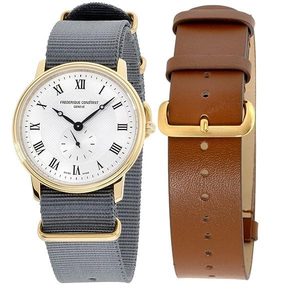 Frederique constante Slimline oro hombres reloj de correa de fc235 m4s5gry + extra: Hamilton: Amazon.es: Relojes