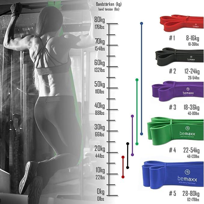 Bandas de Resistencia Elástica + Guía de Entrenamiento   Pull Up Bands Crossfit Yoga Pilates Calistenia   Banda de Tracción para Musculacion Fitness y ...