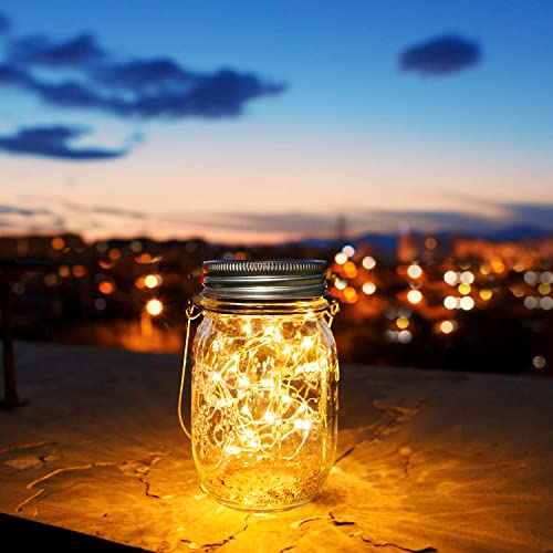 30 LED Solar Mason Jar Lights,Solar Garden Ornaments Outdoor,Solar Fairy Jars,Hanging Lanterns Light,Patio Path Lights Decoration Light,Gift and Decor for Christmas,Holiday,Ceremony