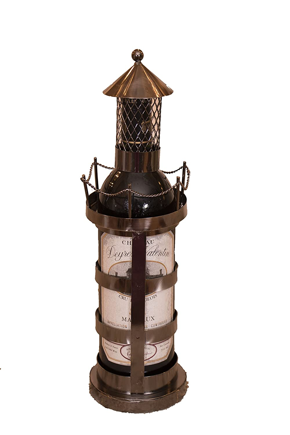 Lighthouse Wine Bottle Holder by Clever Creations | Premium Metal Design Easily Fits Any Standard Bottle | Decorative Design | Great Gift for Your Favorite Wine | Wide Stable Base