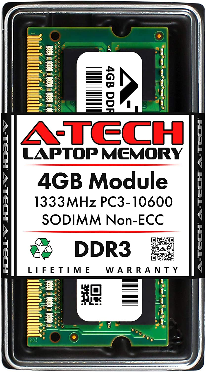 A-Tech 4GB DDR3 1333MHz SODIMM PC3-10600 CL9 204-Pin Non-ECC Unbuffered Notebook Laptop RAM Memory Upgrade Module
