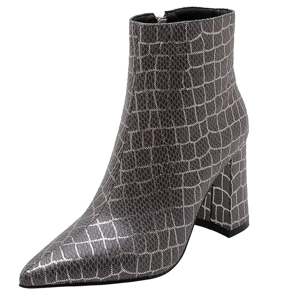 Kauneus Women's Boots Pointed Toe Ankle Bootie Plaid Print Chunky Heels Winter Boots Gray by Kauneus Fashion Shoes