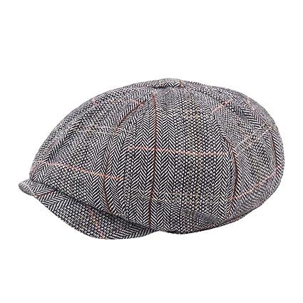 OVINEE Gorra de Tela Escocesa para Hombre British Wind Beret ...