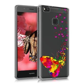 kwmobile Funda para Huawei P9 Lite - Carcasa de [TPU] para móvil y diseño Degradado de Mariposas Rosa Fucsia/Transparente