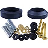 Universal Toilet Tank To Bowl Gaskets with 3 Set Brass Hardware Kits Fits Most 3-Inch 3.5-Inch flush valve opening 2…