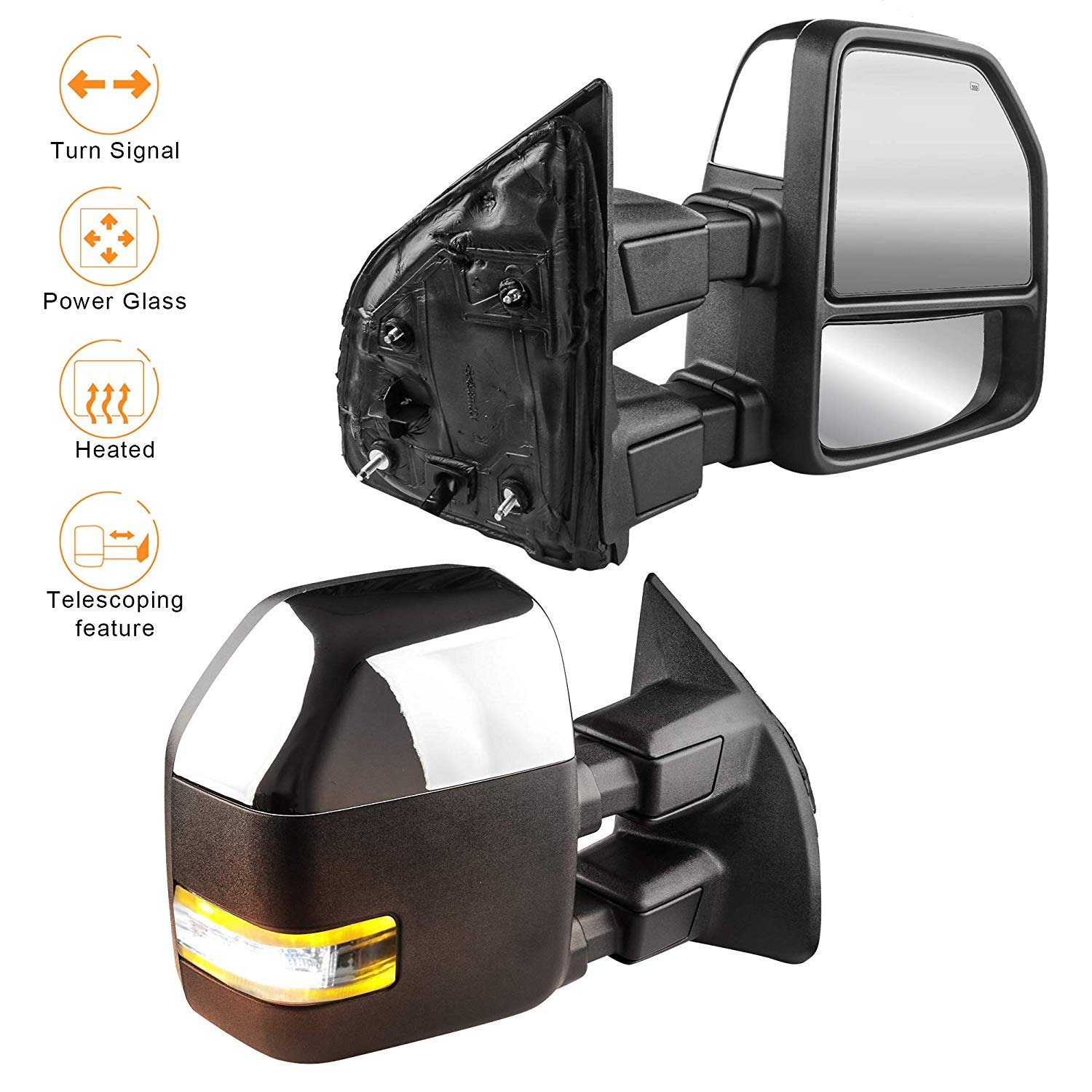 MOSTPLUS Chrome Housing Power Heated Towing Mirrors for Ford F250 F350 F450 F550 Super Duty Pickup Truck 2008-2016 w//Turn Signal Clearance Light Set
