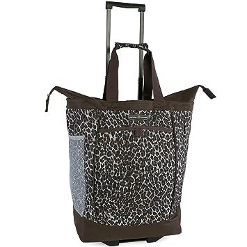 bcb34bcf0727 Amazon.com | Pacific Coast Signature Large Rolling Shopper Tote Bag, Leopard  | Travel Totes