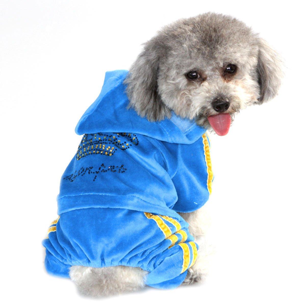 SELMAI Pegasus Pet Ropa para Cachorro Perro Pequeño Gato Crown en Terciopelo Suave Perchero de Pared de Jumpsuit hooide Pijama Chándal Azul M