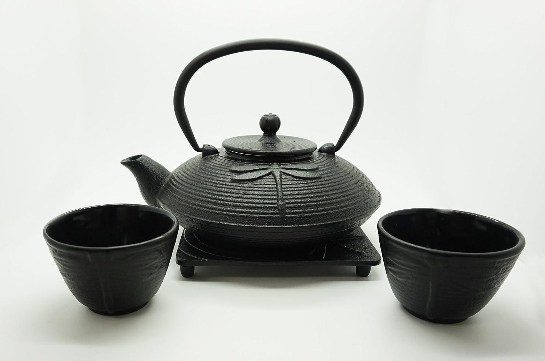 Japonés libélula Tetsubin 4 pc hierro fundido juego de té de hierro ...