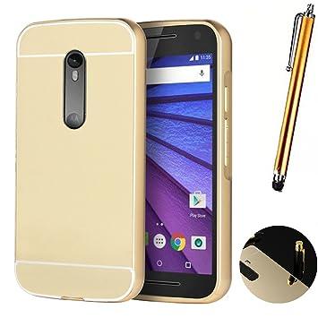 Funda Espejo Aluminio Metal Carcasa para Motorola Moto G (2. Gen) Color Oro