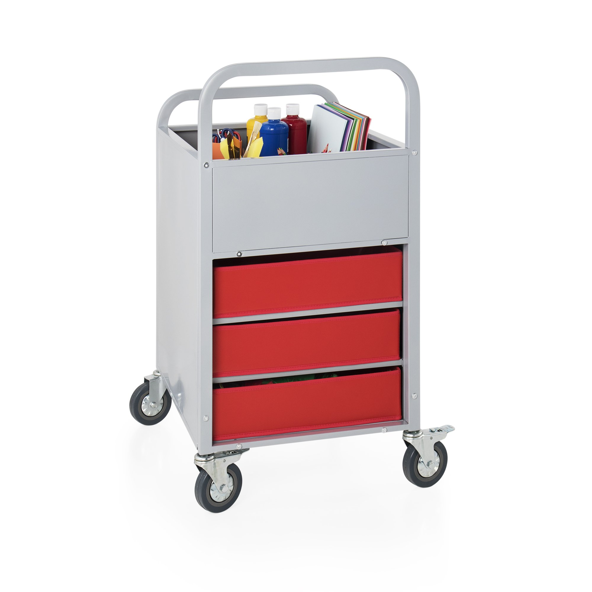 Rolling Display and Storage Utillity Cart, Metal Media Truck with Wheels, 3 Shelf Fabric Bins, Office and School Supply by Guidecraft