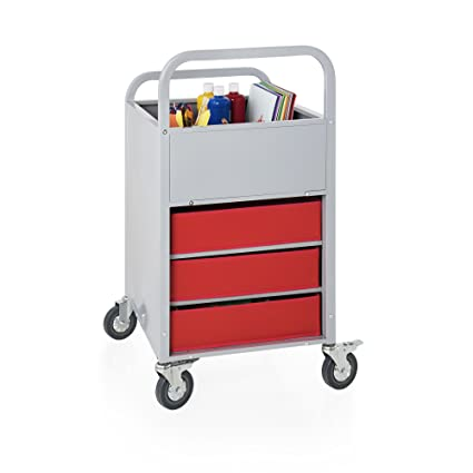 Rolling Display and Storage Utillity Cart, Metal Media Truck with Wheels, 3  Shelf Fabric Bins, Office and School Supply