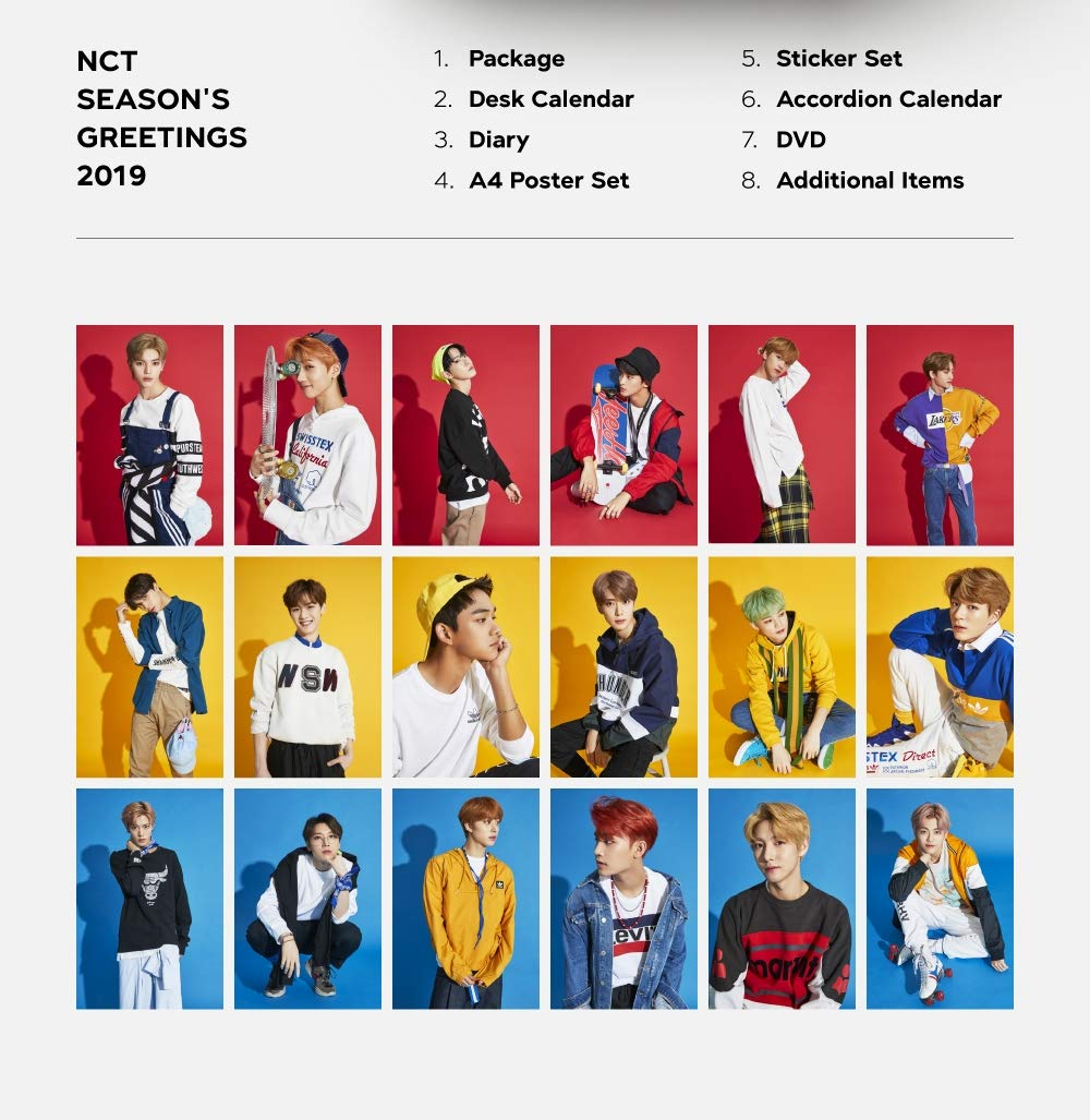 2019 NCT Season's Greetings 2Calendars+DVD+Diary+18On Pack Posters+Sticker+Extra Photocards Set by SM Entertainment (Image #2)