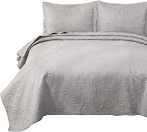 Bedsure Quilt Set Light Grey Queen/Full Size(90x96 inches) - Damask Embroidered Pattern Bedspread - Soft Microfiber Lightweight Coverlet for All Season - 3 Piece (Included 1 Quilt, 2 Shams)