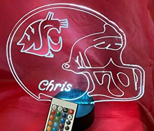 State University Cougars WSU College Football Helmet Night Light Up Table Desk Lamp LED Personalized Our Newest Feature - It's Wow, with Remote, Free Engraving, Great Gift