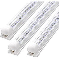 3FT Led Tube Light Fixture, T8 Integrated LED V-Shaped, Clear Cover, 20W, 2300lm, 6000k White, Utility Shop Light…