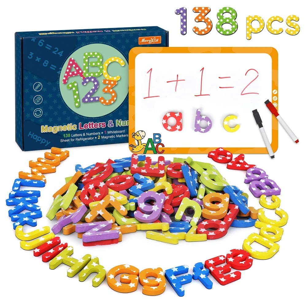 Magnetic Alphabet Letters and Numbers for Toddlers - 138 pcs Educational Uppercase and Lowercase Fridge Foam Magnets Letters with Magnetic Boards for Kids Classroom to Learn Spelling, Counting