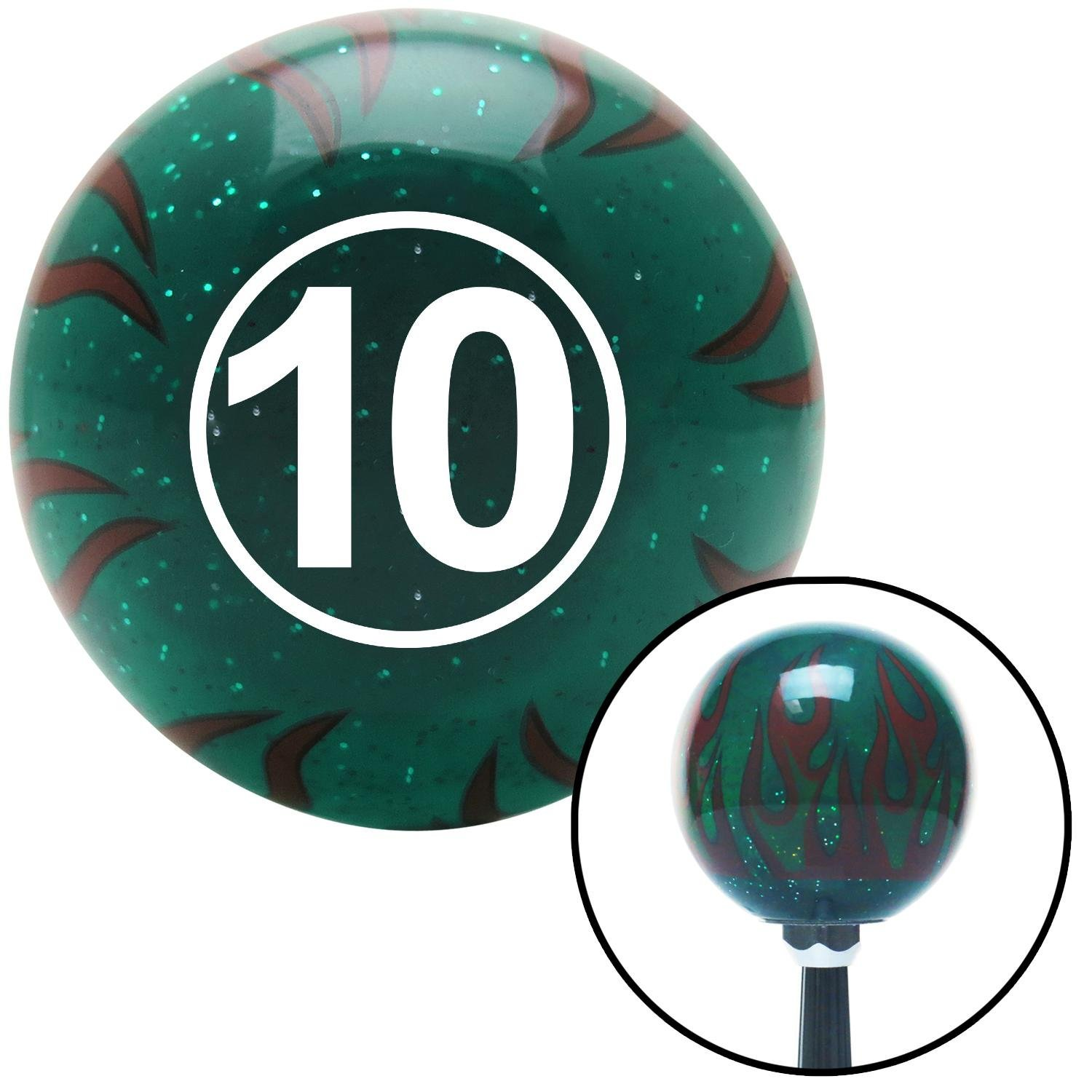 American Shifter 261133 Green Flame Metal Flake Shift Knob with M16 x 1.5 Insert White Ball #10