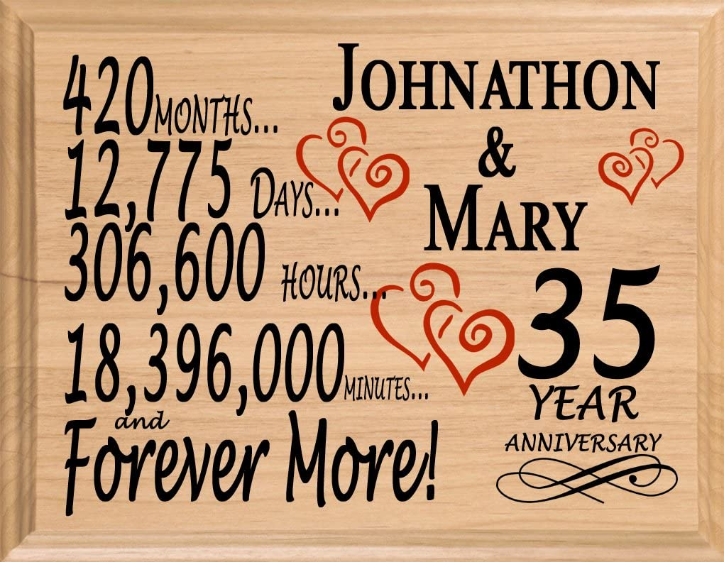 Amazon Com Broad Bay 35 Year Personalized 35th Anniversary Wedding Gift For Wife Husband Couple Him Her Home Kitchen