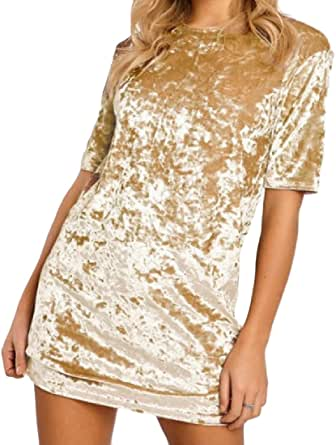 DressUWomen Cuello redondo vestidos de terciopelo lápiz ajustad sólido playa para Mujers