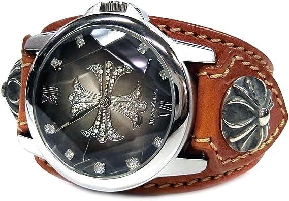 腕時計 メンズ 本革 レザー ベルト グラデーション クロス文字盤 クロスコンチョ カジュアル腕時計 ブラウン