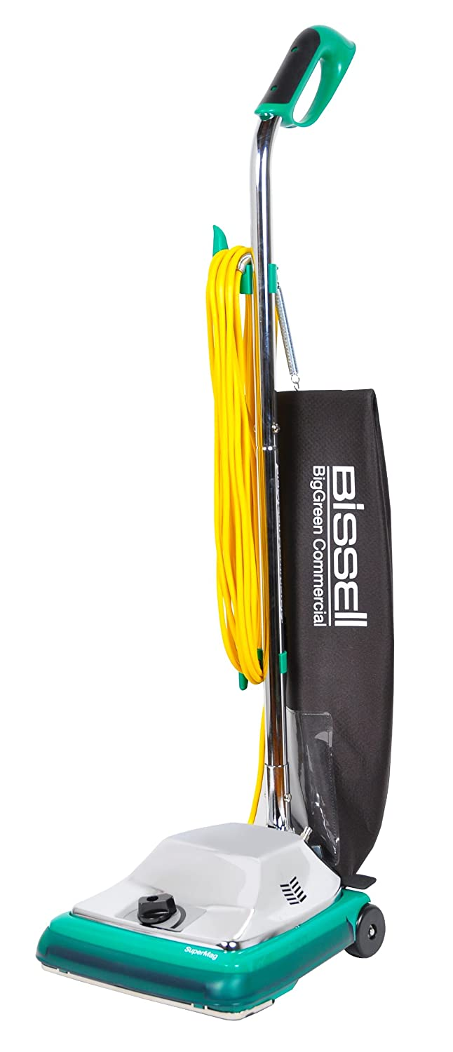 """Bissell BigGreen Commercial BG101H ProBag Comfort Grip Handle Upright Vacuum with Magnet, 870W, 12"""" Vacuum Width"""