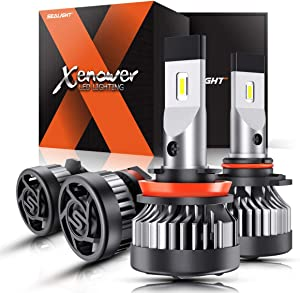 SEALIGHT Xenower H11 9005 LED Headlight Bulb Kit 2020, High Low Beam, 300% Brightness, Easy Installation, 6000K Bright White, 50,000+ Hour Lifespan