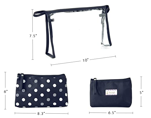 eab9be6ba783 Amazon.com   Zhoma 3 Piece Waterproof Cosmetic Bag Set - Makeup Bags And Travel  Case - Navy Blue   Beauty