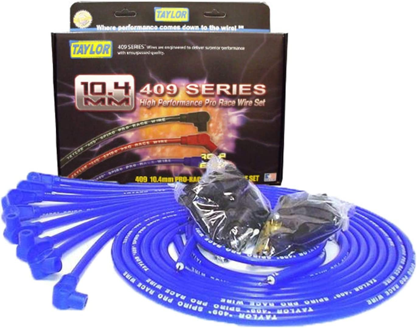 Taylor Cable 79651 Blue 10.4Mm Universal Fit 8-Cylinder Spiro Pro Race Spark Plug Wire Set