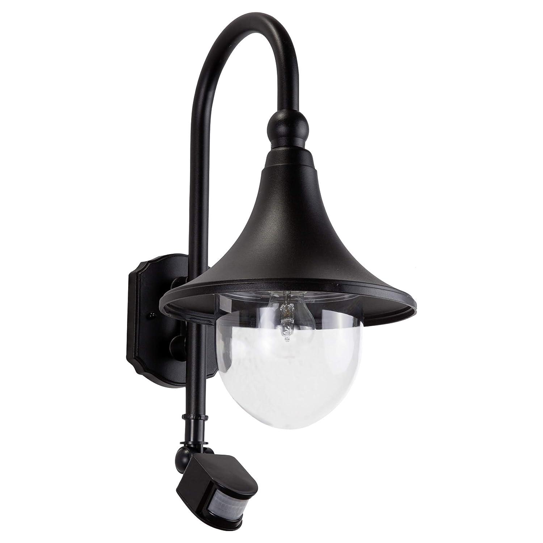 Lampenwelt Wandleuchte auß en'Daphne' mit Bewegungsmelder (spritzwassergeschü tzt) (Modern) in Schwarz aus Aluminium (1 flammig, E27, A++) | Auß enlampe, Wandlampe fü r Outdoor & Garten