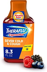 Theraflu ExpressMax Syrup for Daytime Severe Cold and Cough, Berry Cough Syrup (8.3 ounces)